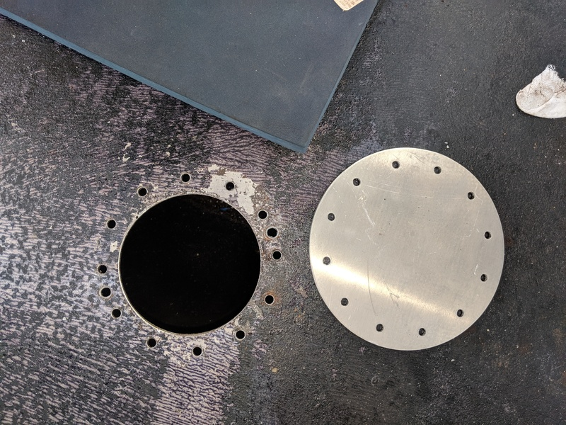 """4"""" hole prepped for inspection port"""